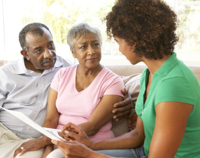 duaghter talking to her senior parents